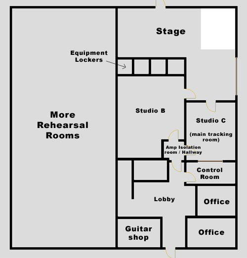 Toastworks recording studio for Recording studio floor plans architecture